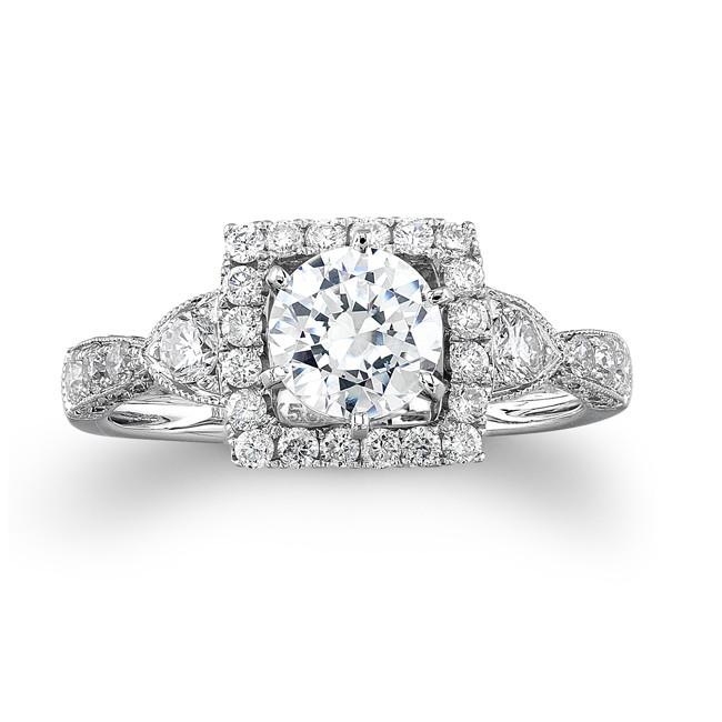 14k White Gold Vintage Detail Diamond Semi Mount