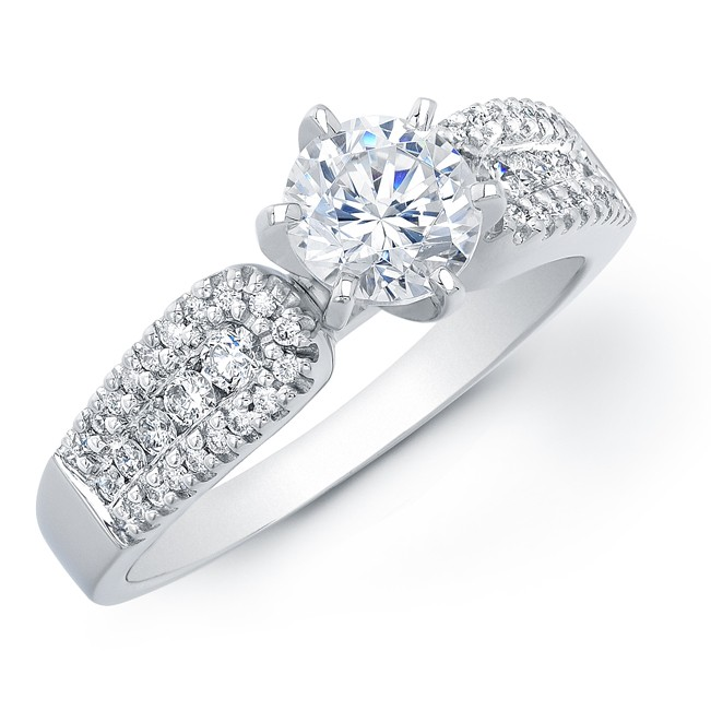 14k White Gold Six Prong Diamond Semi Mount