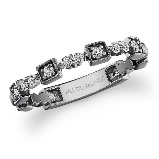 14k Black Gold Diamond Stackable Ring