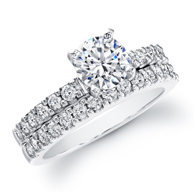 14k White Gold Classic Prong Bridal Set