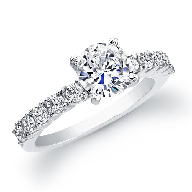 14k White Gold Prong Diamond Engagement Ring