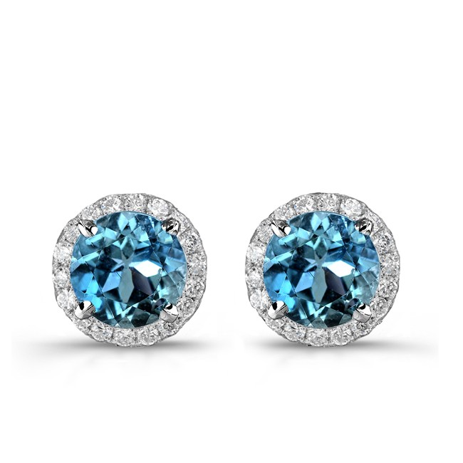 14k White Gold Treated Blue Diamond Stud Earrings With Halo