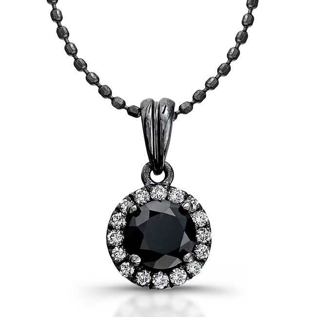 14k Gold with Black Rhodium 1.00ct Black and White Diamond Halo Pendant
