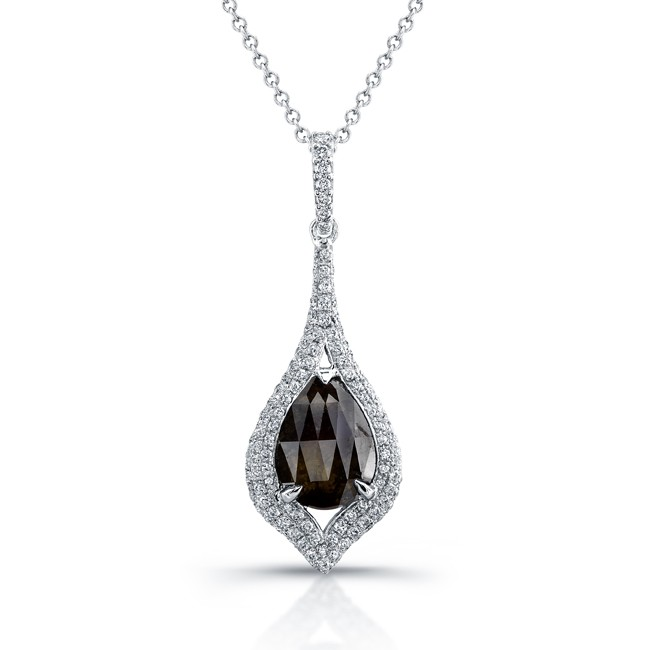 18k White Gold Rose Cut Brown Diamond Rustic Drop Pendant