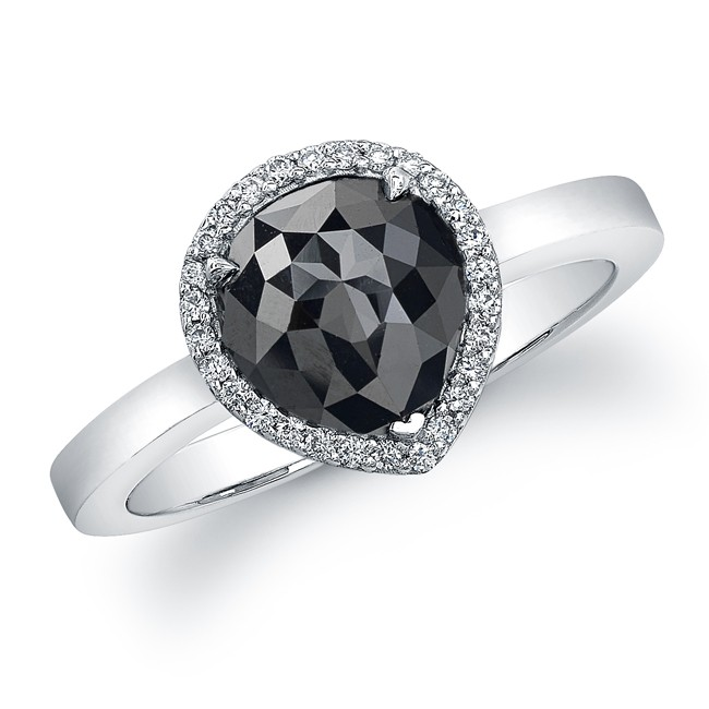 14k White Gold Pear Shaped Black Diamond Ring