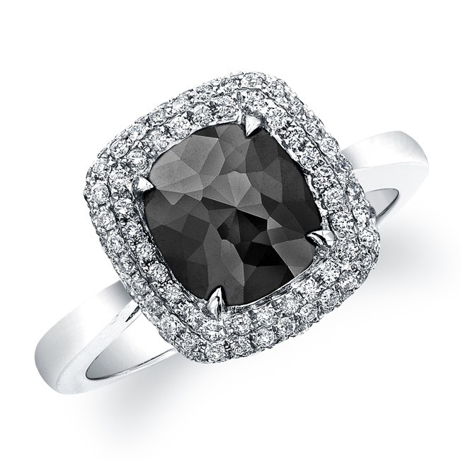 18k White Gold Rose Cut Black Diamond Double Halo Ring