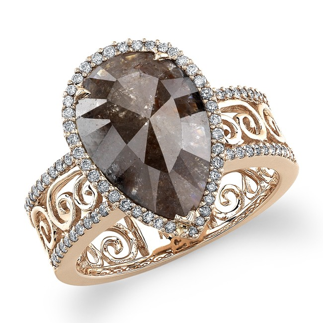 14k Rose Gold Pear Shaped Brown Diamond Fashion Ring