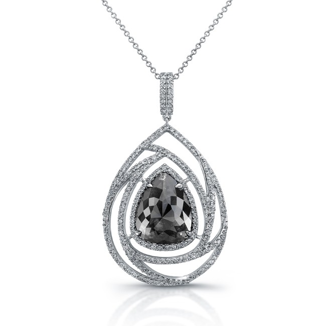 18k White Gold Oversize Rose Cut Brown Diamond Rustic Pendant
