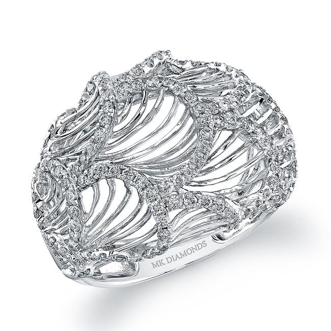 14k White Gold Diamond Scalloped Wire Band