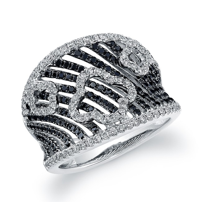 14k White Gold Black and White Gold Pave Diamond Wire Band