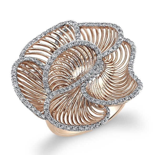 14k Rose Gold Wire Diamond Flower Ring