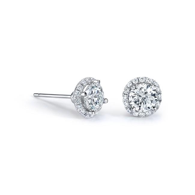14k White Gold 2.00ct White Diamond Halo Stud Earrings