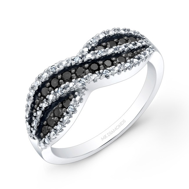 14k White and Black Gold Infinity Fashion Band
