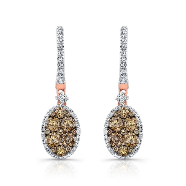18k Rose and Black Gold Brown Diamond Oval Drop Earrings