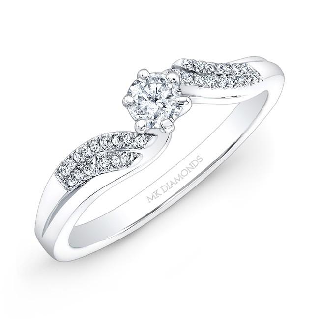 14k White Gold 1/4ct Center White Diamond Engagement Ring