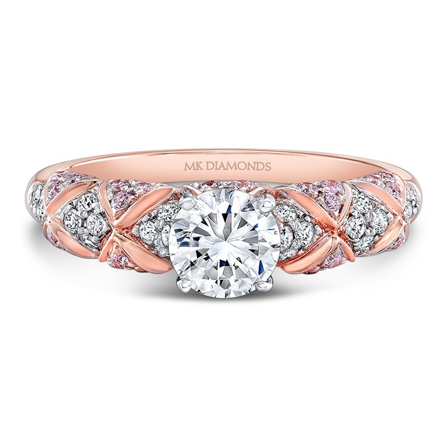 18k Rose And White Gold Pink Diamond Engagement Ring