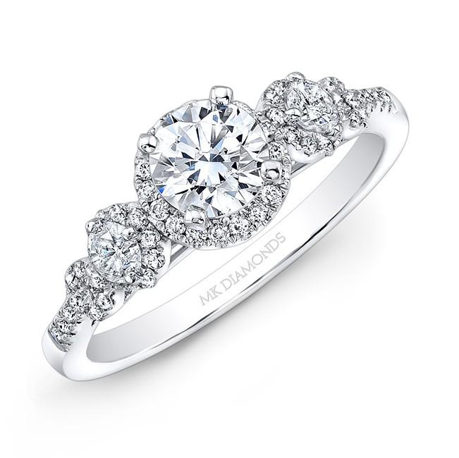 14k White Gold Diamond Side stone Diamond Halo Engagement Ring