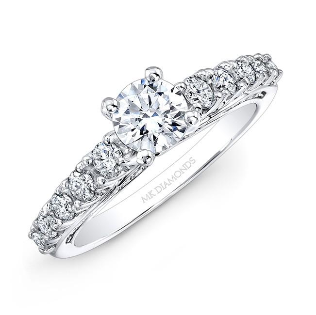 14k White Gold White Diamond Engagement Ring