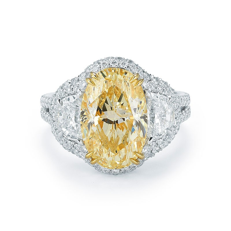 3 Stone Fancy Yellow Oval Pave Halo Diamond Ring