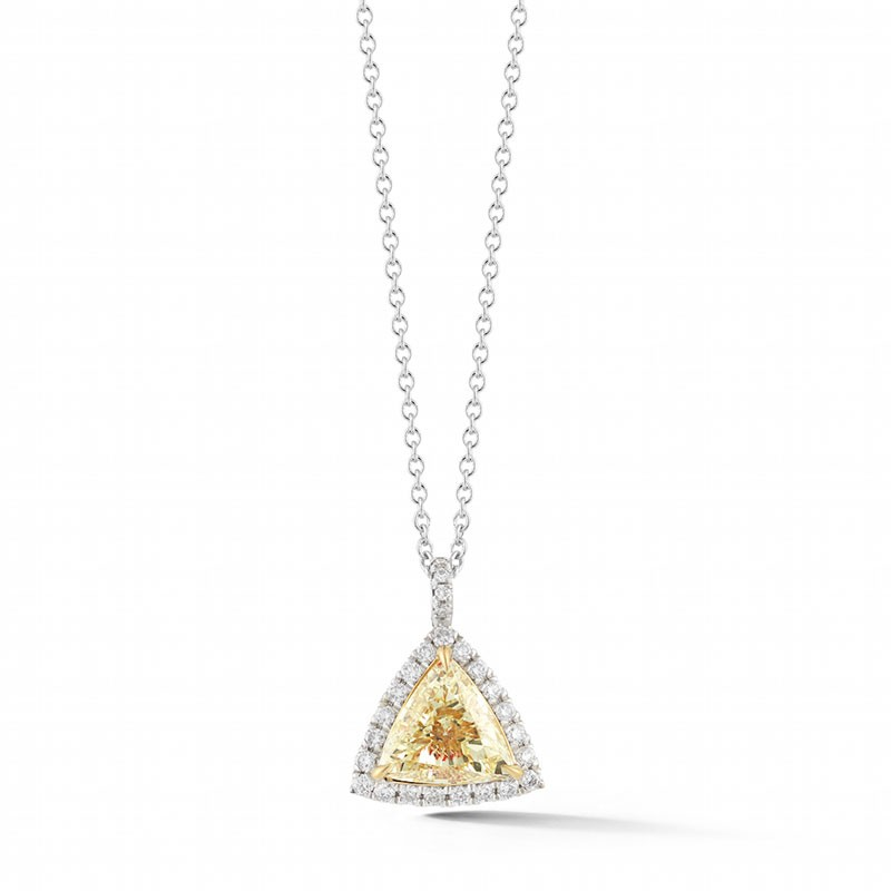 Fancy Yellow Trillion Halo Diamond Pendant
