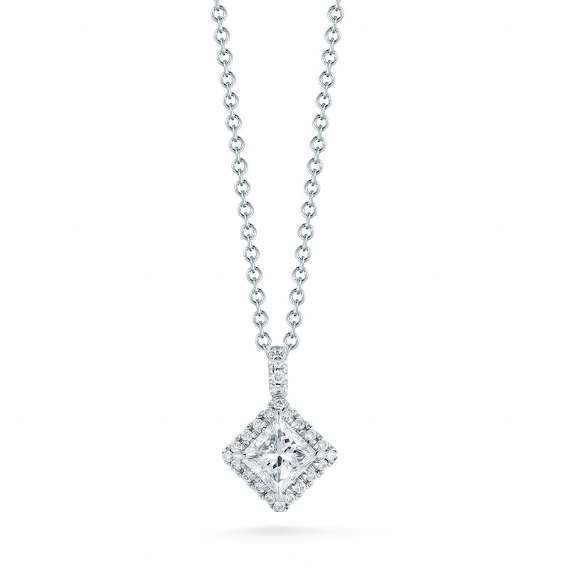 Princess Cut Halo Diamond Pendant