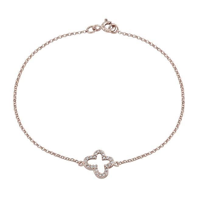 14k Rose Gold Pave Diamond Butterfly Bracelet