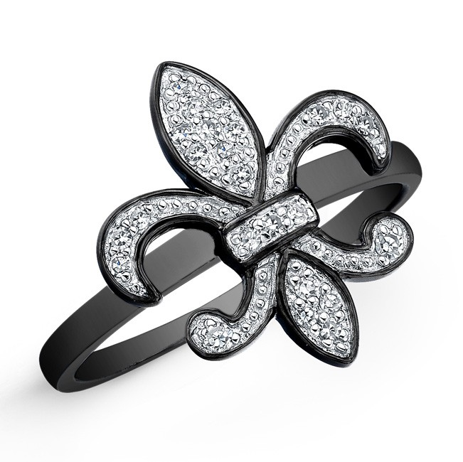 Black Sterling Silver Diamond Fleur De Lys Ring