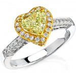 18k White and Yellow Gold Heart Shaped Fancy Yellow Diamond Semi Ring
