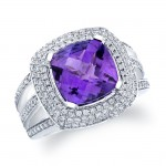 14k White Gold Amethyst And Pave Diamond Ring