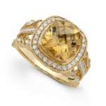 14k Yellow Gold Citrine Diamond Ring