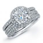 14k White Gold Micro Pave Diamond Halo Bridal Set