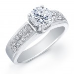 14k White Gold Classic Pave Engagement Ring Semi Mount