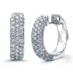 14k White Gold Micro Pave Diamond Hoop Earrings