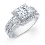 14k White Gold Baguette and Round Diamond Semi Mount