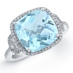 14k White Gold Blue Topaz Fashion Ring