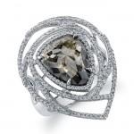 18k White Gold Oversize Rose Cut Brown Diamond Ring