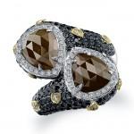 18k White Gold Rose Cut Brown Diamond Bypass Ring
