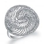 14k White Gold Diamond Wire Whirlpool Ring