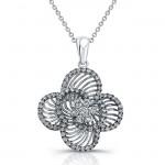 14k White Gold Wire Flower Diamond Pendant