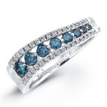 14k White Gold Treated Blue Diamond Fashion Band