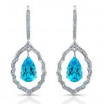 14k White Gold Pear Shaped Blue Topaz Diamond Earrings