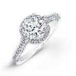 14k White Gold Pave-set Diamond Halo Engagement Ring