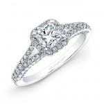 18k White Gold Split Shank White Diamond Square Halo Bridal Set