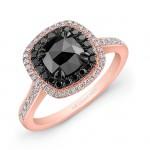 14k Rose Gold, Rose Cut Black Diamond Halo Engagement Ring
