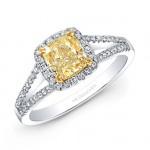 18k White and Yellow Gold Split Shank Diamond Halo Yellow Diamond Center Engagement Ring