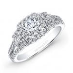 14k White Gold Three Stone Square Halo Engagement Ring Semi Mount