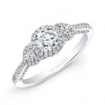 14k White Gold White Diamond Halo Round Diamond Side Stone Engagement Ring