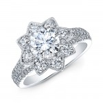 18k White Gold Bezel Set White Diamond Starburst Halo Engagement Ring