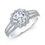 18k White Gold White Diamond Halo Split Prong Engagement Ring