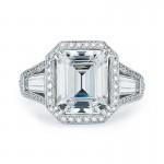 3 Stone Emerald Cut Micro Pave Halo Diamond Ring